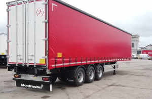 Montracon curtain sided trailer back and side view