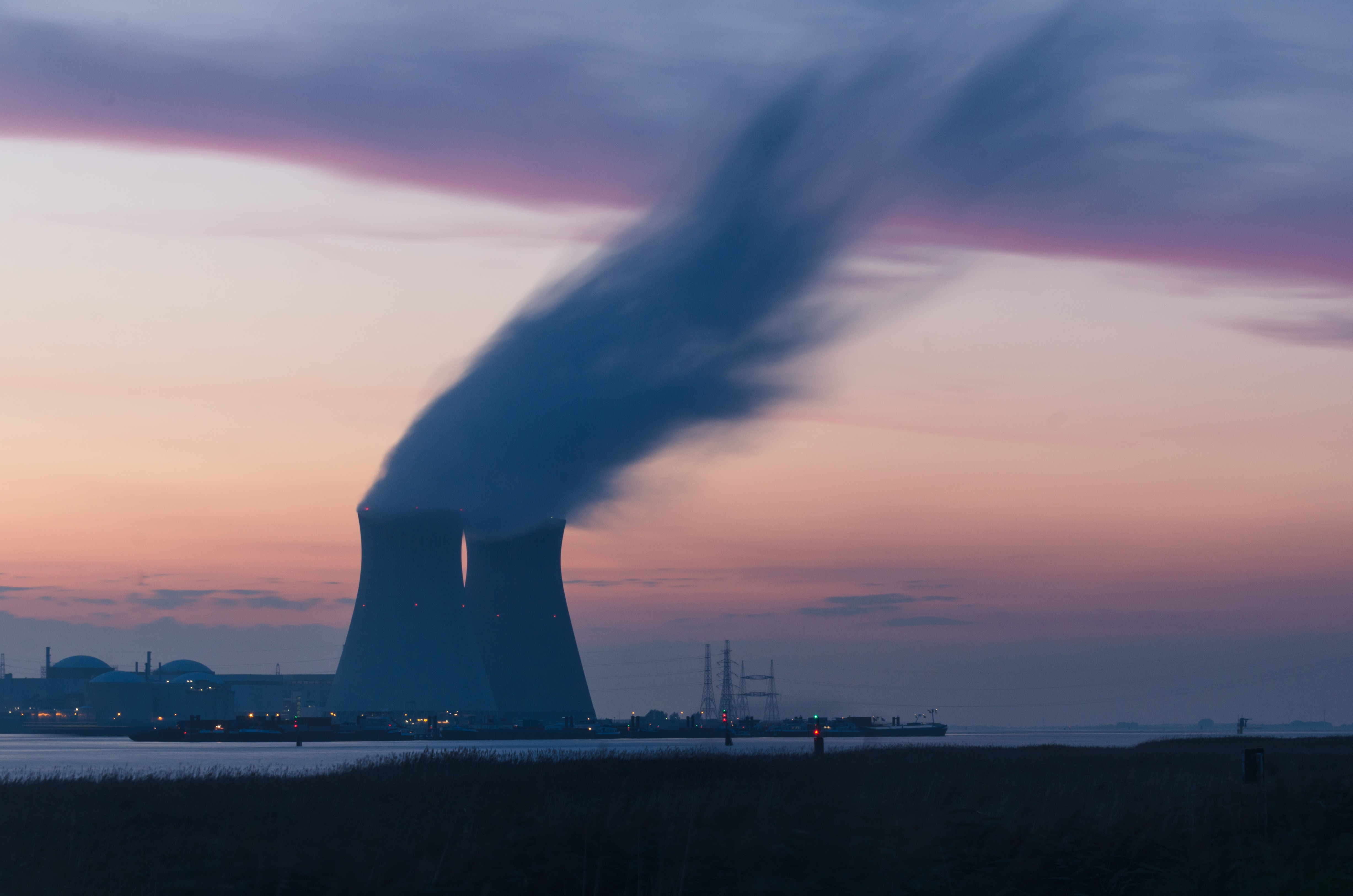 nuclear powerplant at sunset
