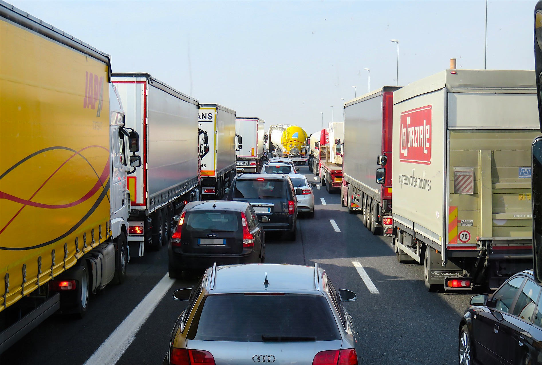 congested traffic with HGVs